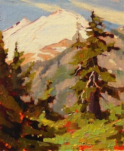 Daily Paintworks Mount Baker Plein Air Landscape Painting By Robin Weiss And News Of Upcoming Shows Original Fine Art Fine Art Art Landscape Paintings