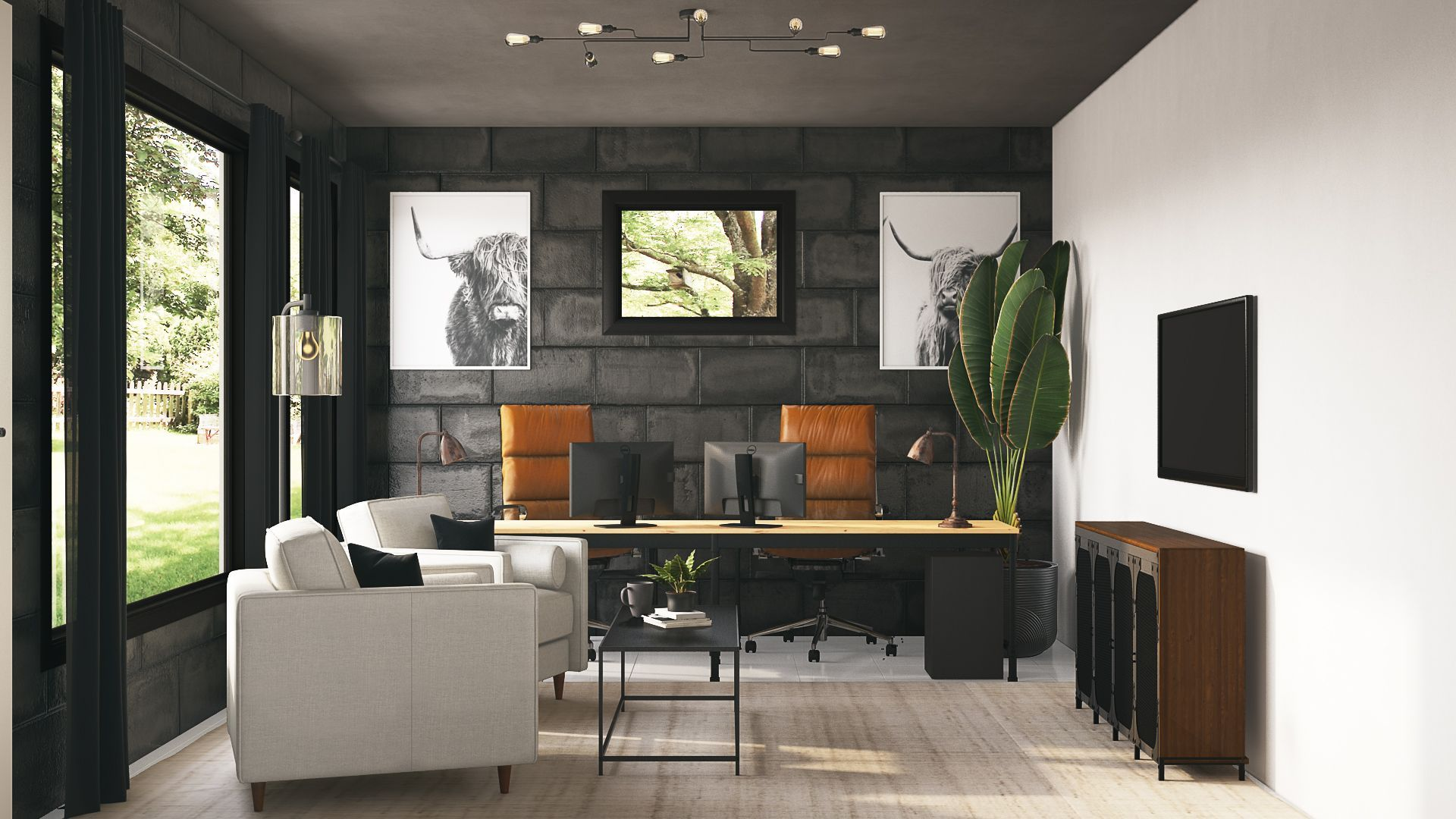 Modern Industrial Midcentury Modern Scandinavian Office Design By Havenly Interior Designe In 2020 Interior Design Office Interior Design Office Design