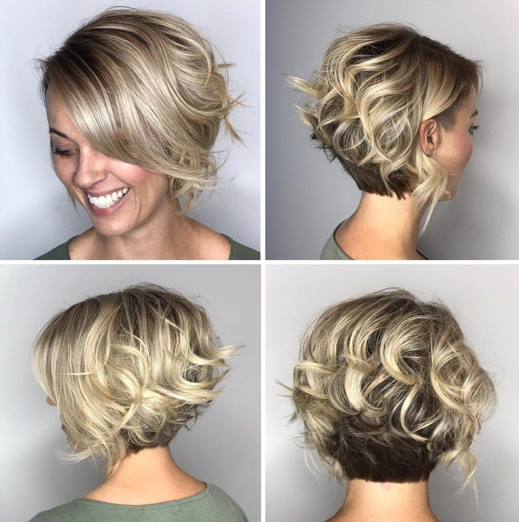 Two Tone Curly Bob With Nape Undercut Hair Styles Short Hair Styles Short Curly Hair