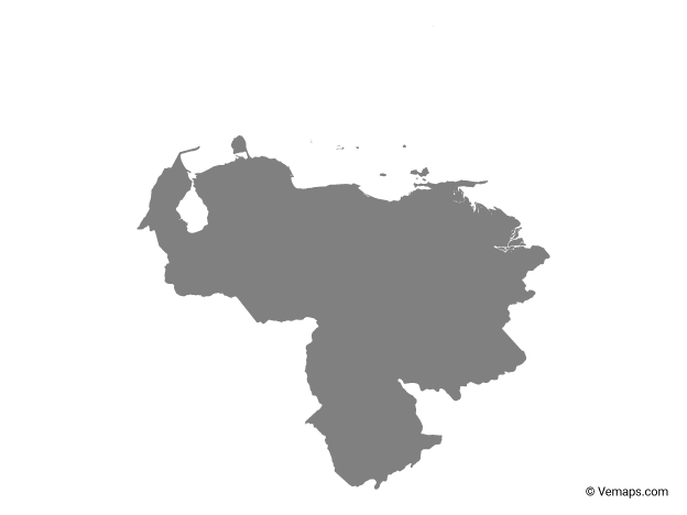 Grey Map Of Venezuela Free Vector Maps Venezuela Map Vector Map