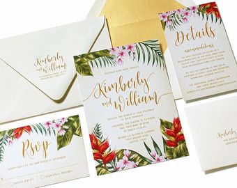 Tropical Wedding Invitation Destination Beach Palm Leaves Hibiscus Island Hawaii Caribbean Sample