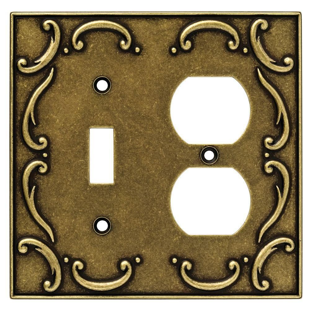 Liberty Brass 2 Gang 1 Toggle 1 Duplex Wall Plate 1 Pack 126386 The Home Depot Plates On Wall Antique Brass Antiques