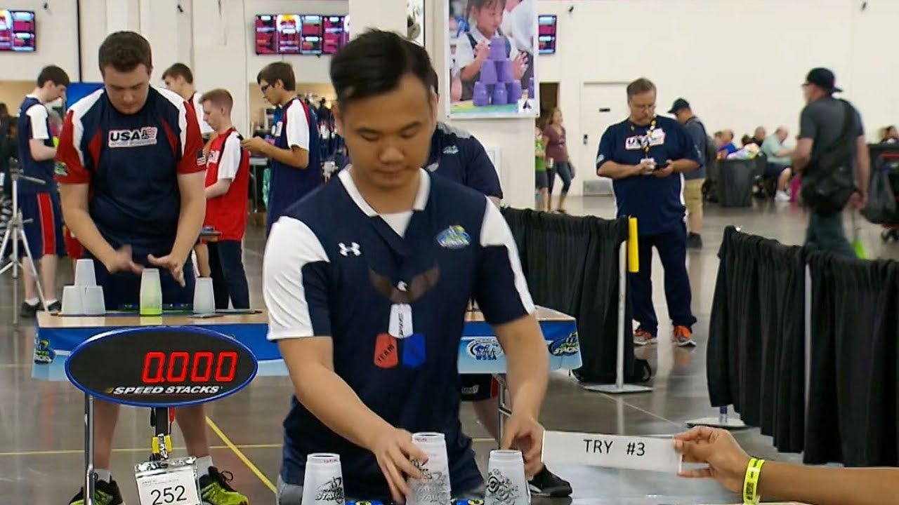 Cup stacking sport gains popularity in China, US