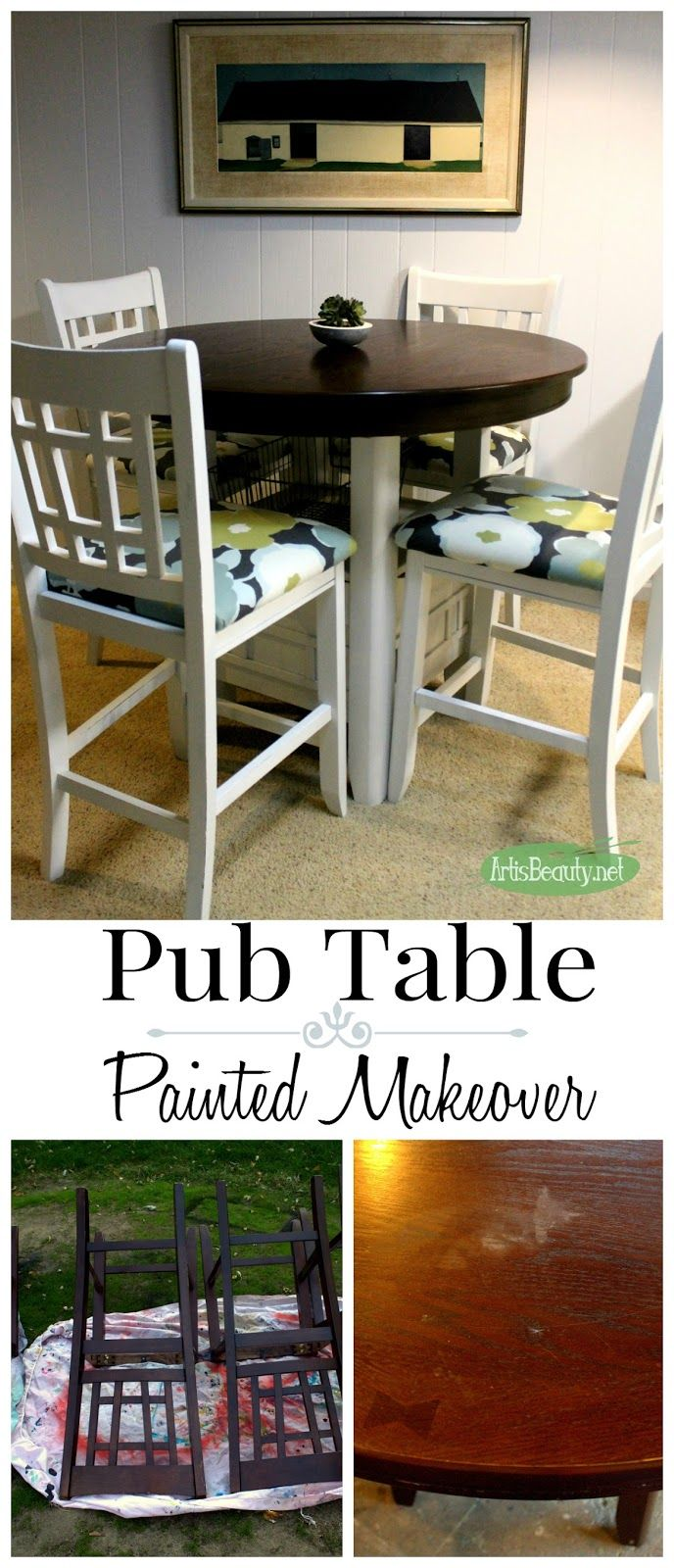 Fixer Upper style Painted Pub Table Makeover | Pub style ...