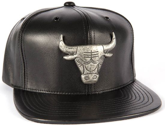 6426eeab81f Chicago Bulls Leather Brooch Metal Snapback Cap by MITCHELL   NESS x ...