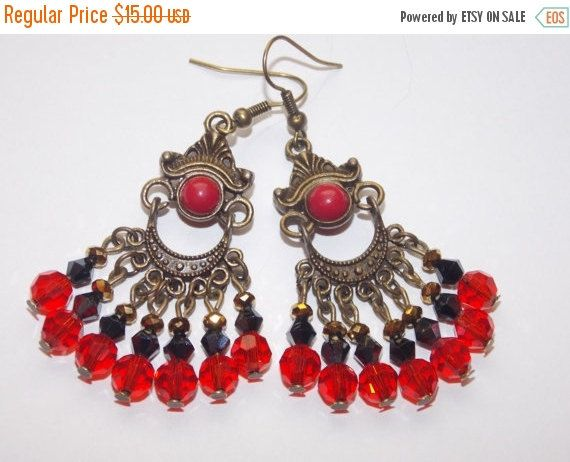 25%OFF Faceted Red Czech Glass Black and Gold Crystal Bronze ...