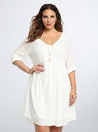 Plus Size Embroidered Gauze Shirt Dress, BRIGHT WHITE | My Style ...