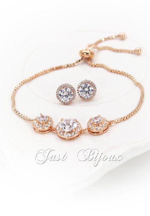 0ea0368b16 Wedding Earrings Bracelet set Rose gold plated Zirconia Earrings Bracelet  Wedding Jewelry Bridal Jew