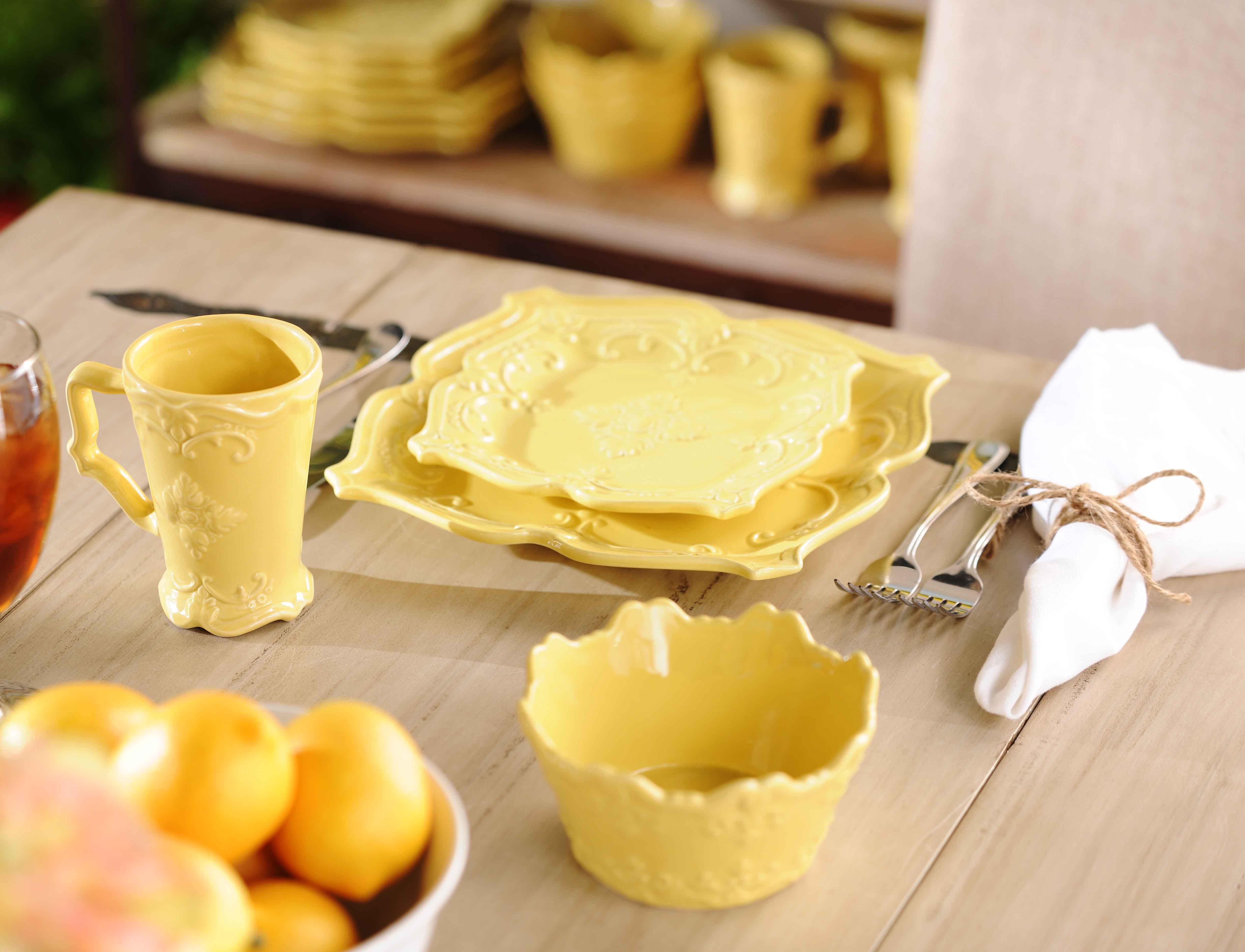 Add a touch of color to your kitchen with the yellow sweet olive dinnerware #kirklands & Add a touch of color to your kitchen with the yellow sweet olive ...