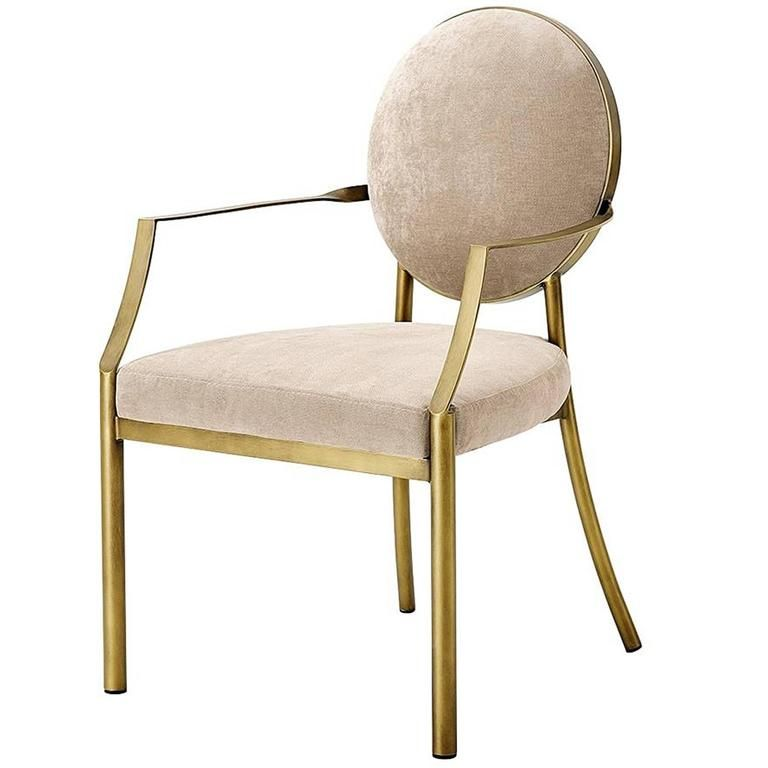 Reed Armchair Gold Finish With Greige Velvet Fabric From A Unique Collection Of Antique And Modern Dining Chairs Modern Dining Arm Chairs White Dining Chairs