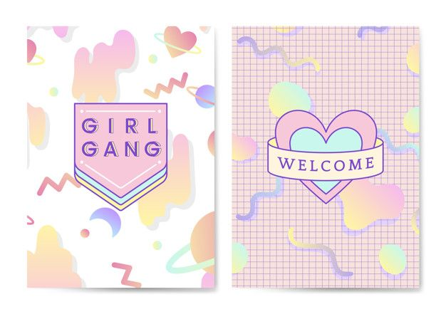 Download Two Girly And Cute Poster Vectors for free