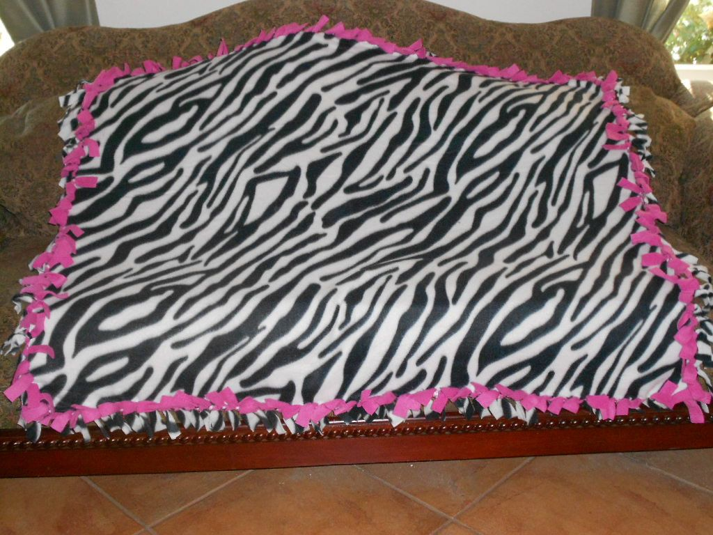 Black and white zebra stripes hot pink back fleece tie blanket no