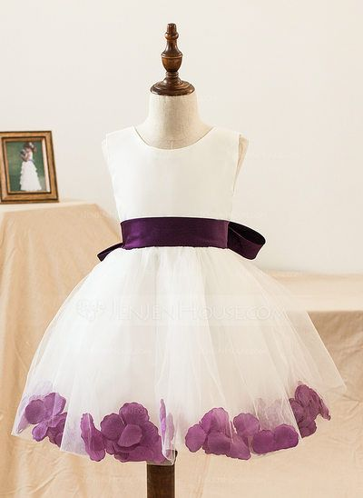 b501568fabc  US  39.99  A-Line Princess Knee-length Flower Girl Dress - Satin Tulle  Sleeveless Scoop Neck With Bow(s)