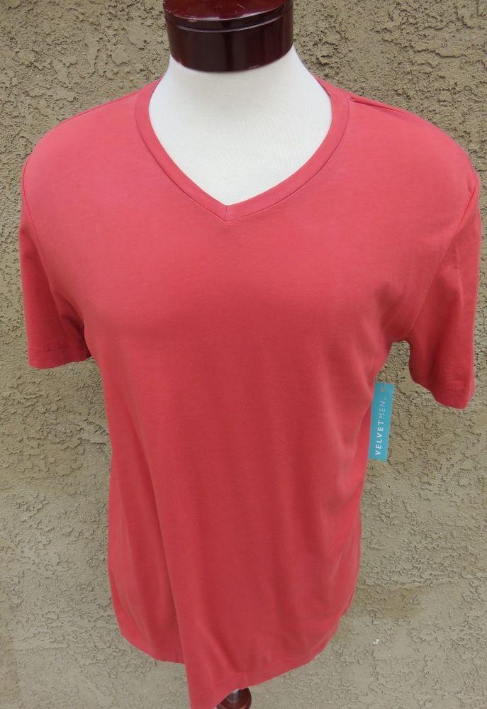 VelvetMen Velvet by Graham & Spencer T-Shirt Red V-neck M Lightweight $59 NWT #Velvet #BasicTee