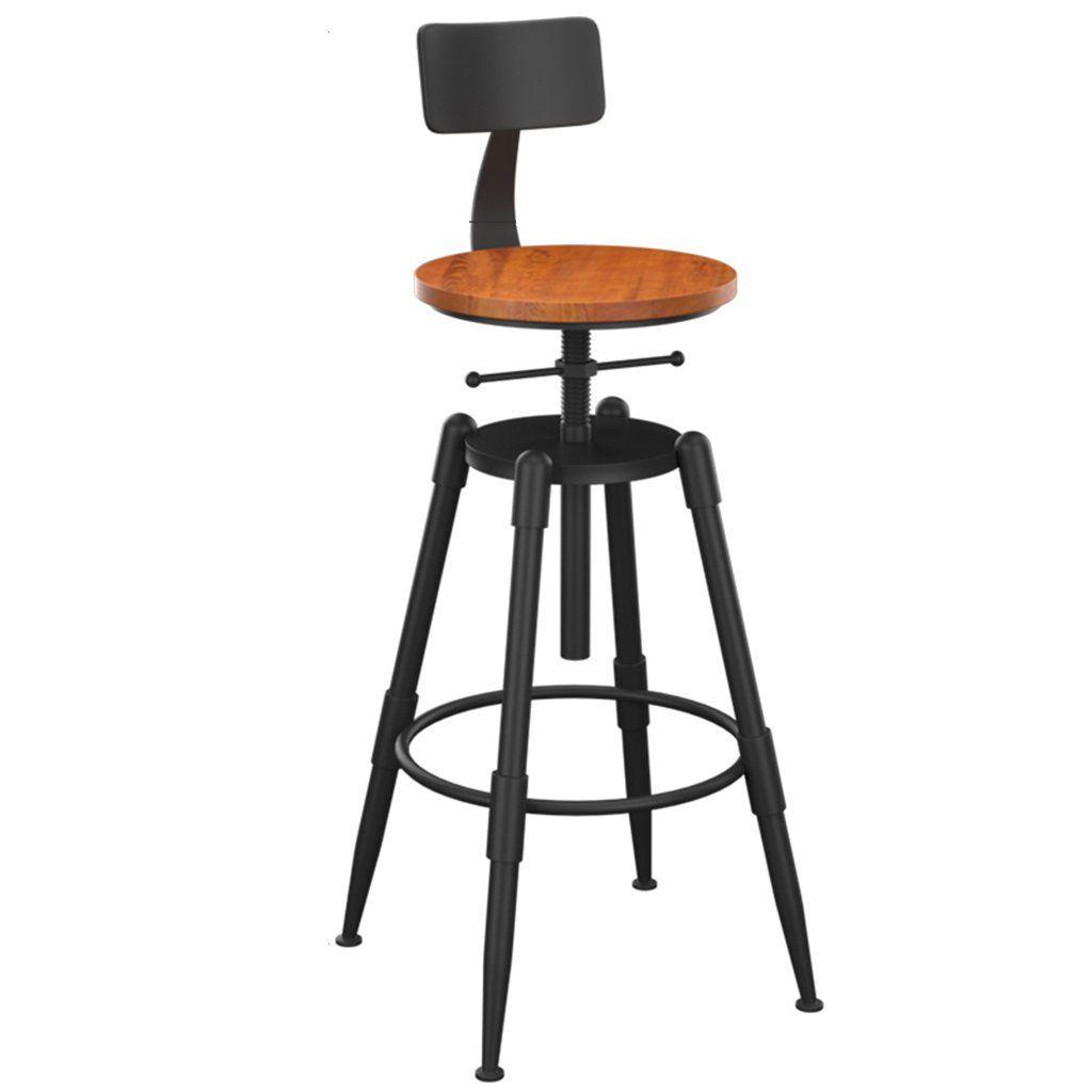 Decorative Stool Iron Art Bar Chair Vintage Solid Wood Bar Stool Chair Lift Bar Stool High Chair Armchair Lift Simple Dining Chairs Bar Stool Chairs Bar Stools