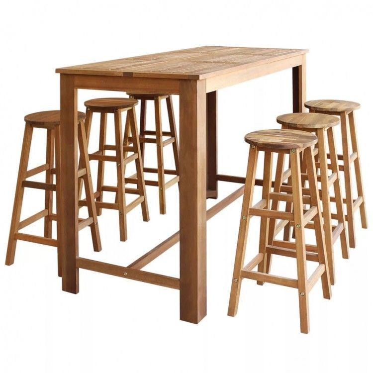 Wooden Dining Bar Table Stool Set Of 7 Rustic Kitchen Room Stand Cafes Seats Bar Table And Stools Bar Table Wood Bar Table