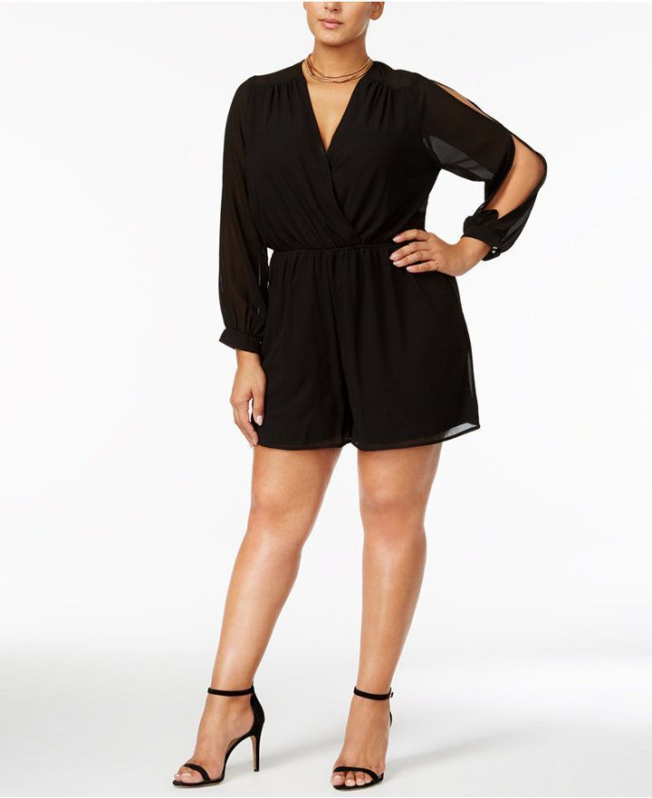 15e5c14cc750 Monteau Trendy Plus Size Sheer Surplice Romper. Sexy   classy long sleeved  black shorts romper. Could be paired with heels (like shown) or flat  sandals for ...