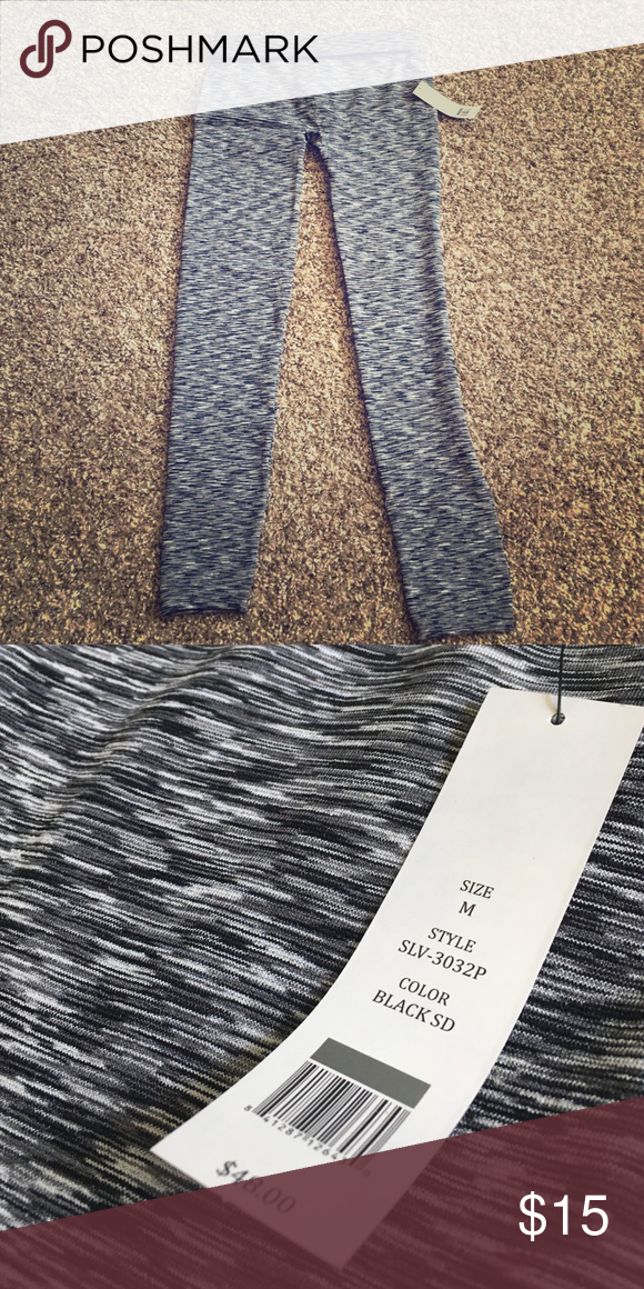 NWT athletica stretch pants - medium Grey and black birch print stripped velocity workout pants. Size medium, tummy control waistband. Can be worn as capris or full length. NWT and retails for $48 Pants Track Pants & Joggers