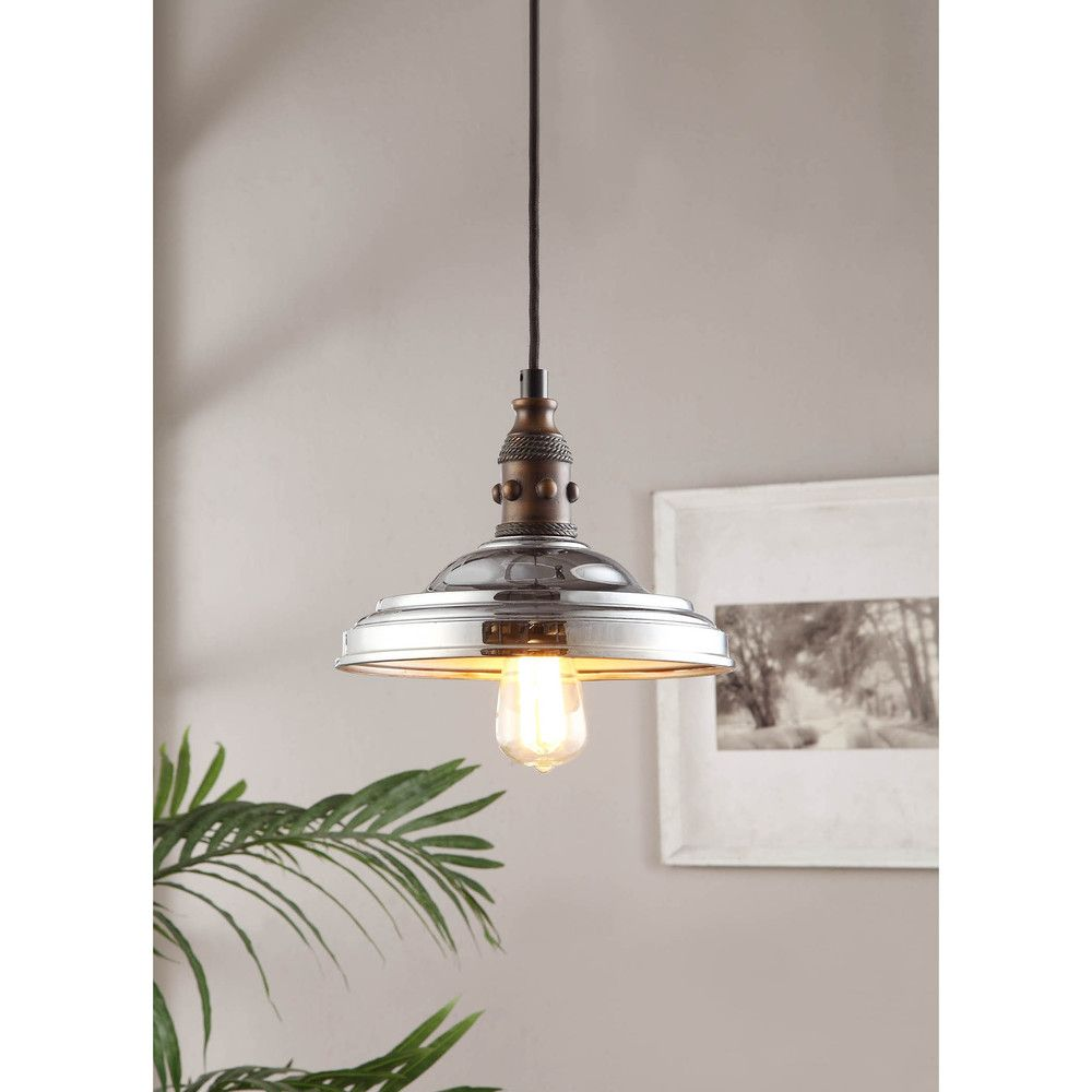 Vintage farmhouse 1 light chrome pendant overstock com shopping the best deals