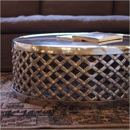 Elegant Round Coffee Table Made Of Sand Casted Recycled Aluminum, Buffed By  Hand To Give A Mirror Like Finish.