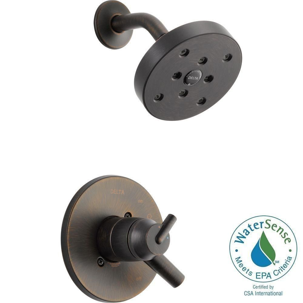 Delta Bathroom Tub Shower Trim Kit 1-Handle Oil Rubbed Bronze Valve Not Included