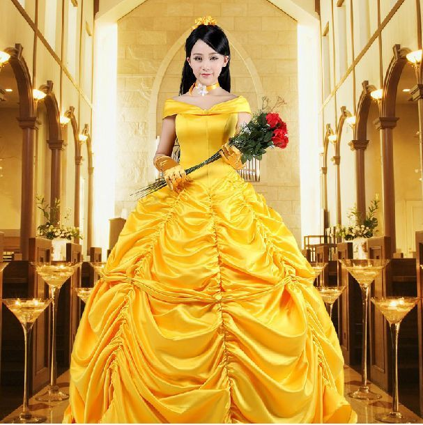 New Adult Women Princess Belle Costume Cosplay The Beast Halloween Fancy Dress