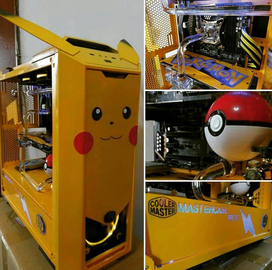 pc gaming custom piccachu technologie spiele spielzimmer und coole ideen. Black Bedroom Furniture Sets. Home Design Ideas