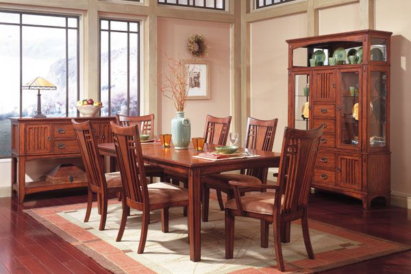 Picture Of Standard Furniture Mission Hills Dining Room Set Featuring Curio China Cabinet Display Table 6 Chairs Casual Sets