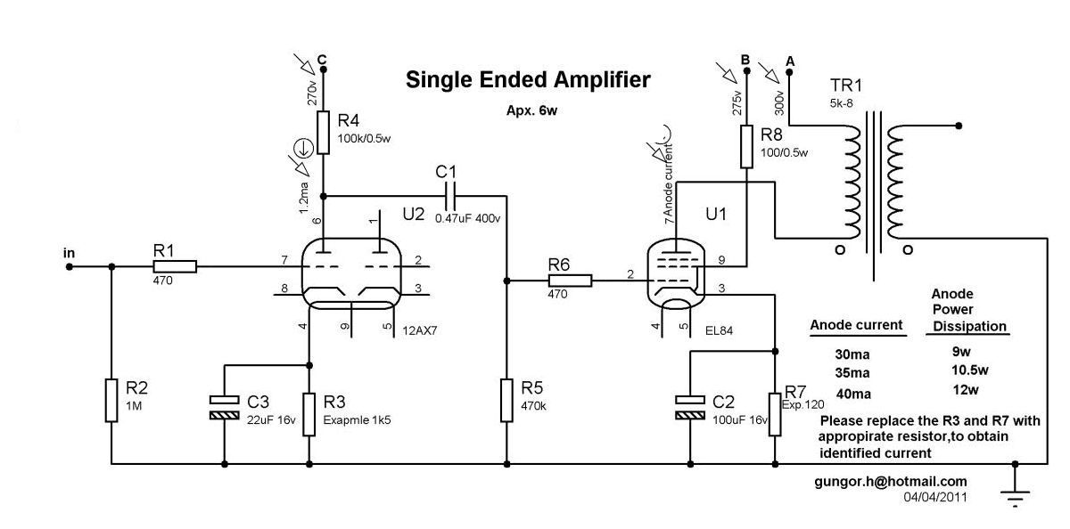 El84 Single Ended Amplifier Schematic