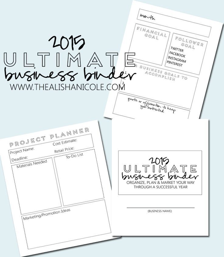 The 2015 Ultimate Business Binder! Business, Binder and Blogging - sample small business plan