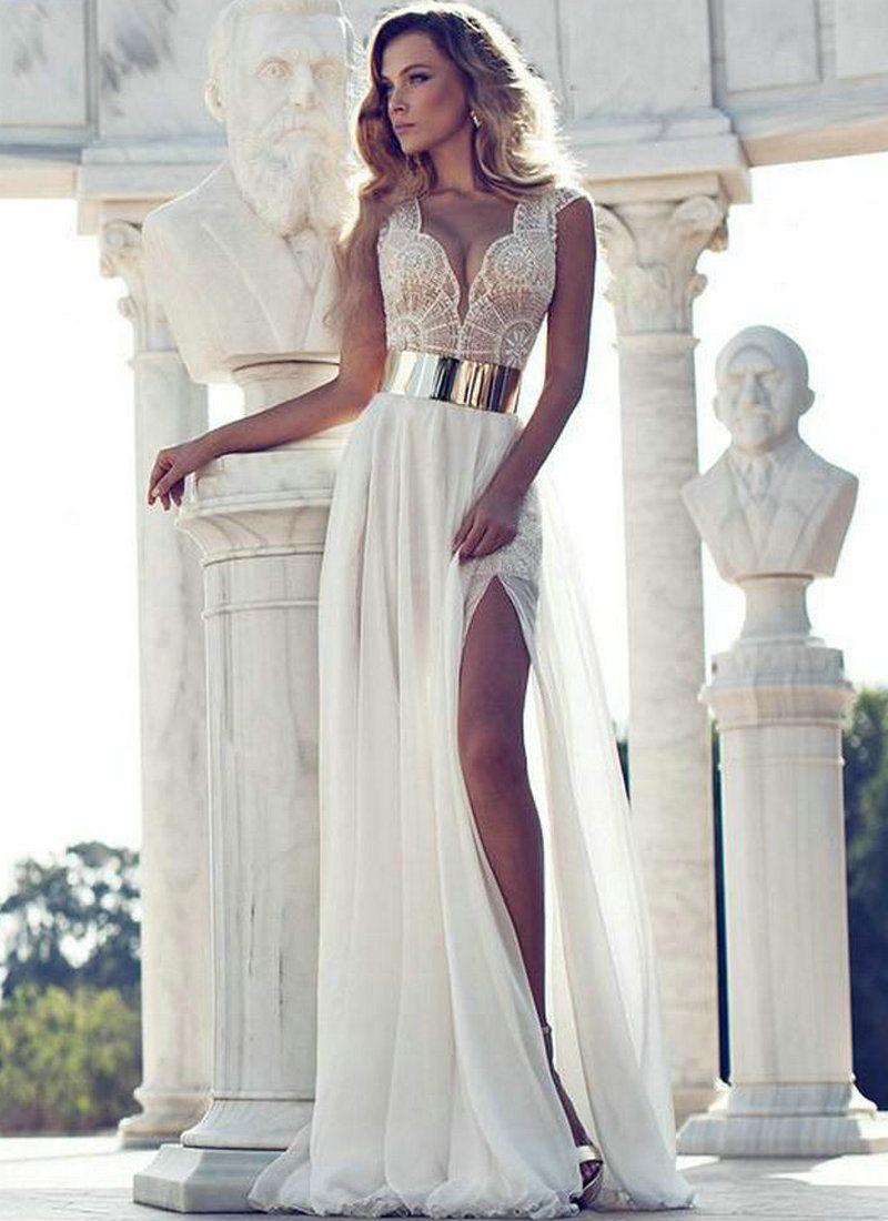 Summer beach dress white and gold