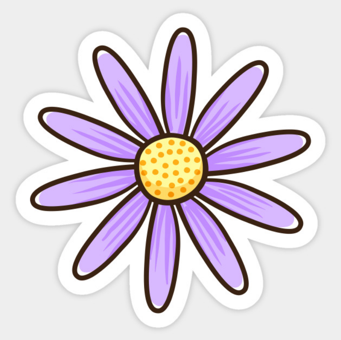 Purple daisy flower sticker sticker featuring a cartoon