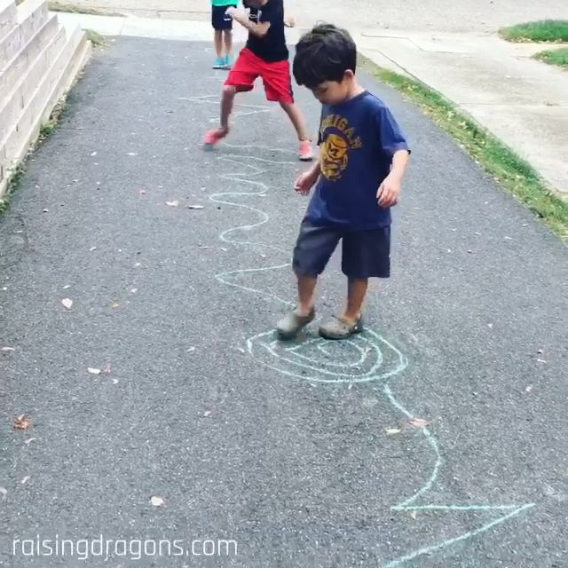 Follow the Line is a fun, outdoor activity that is great for gross motor skills and takes only a few minutes