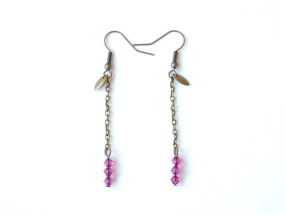 Fuchsia earrings - pink earrings - dangling earrings - evening earrings    These earrings are 2.5 long. They are made of a brass chain, a