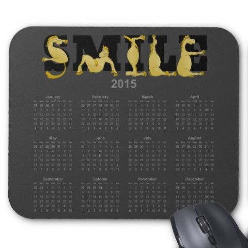SMILE flexible pony calendar 2015 Mouse Pads. A very bendy, cartoon pony twisting into the letters of the word smile, on a 2015 mouse pad calendar.
