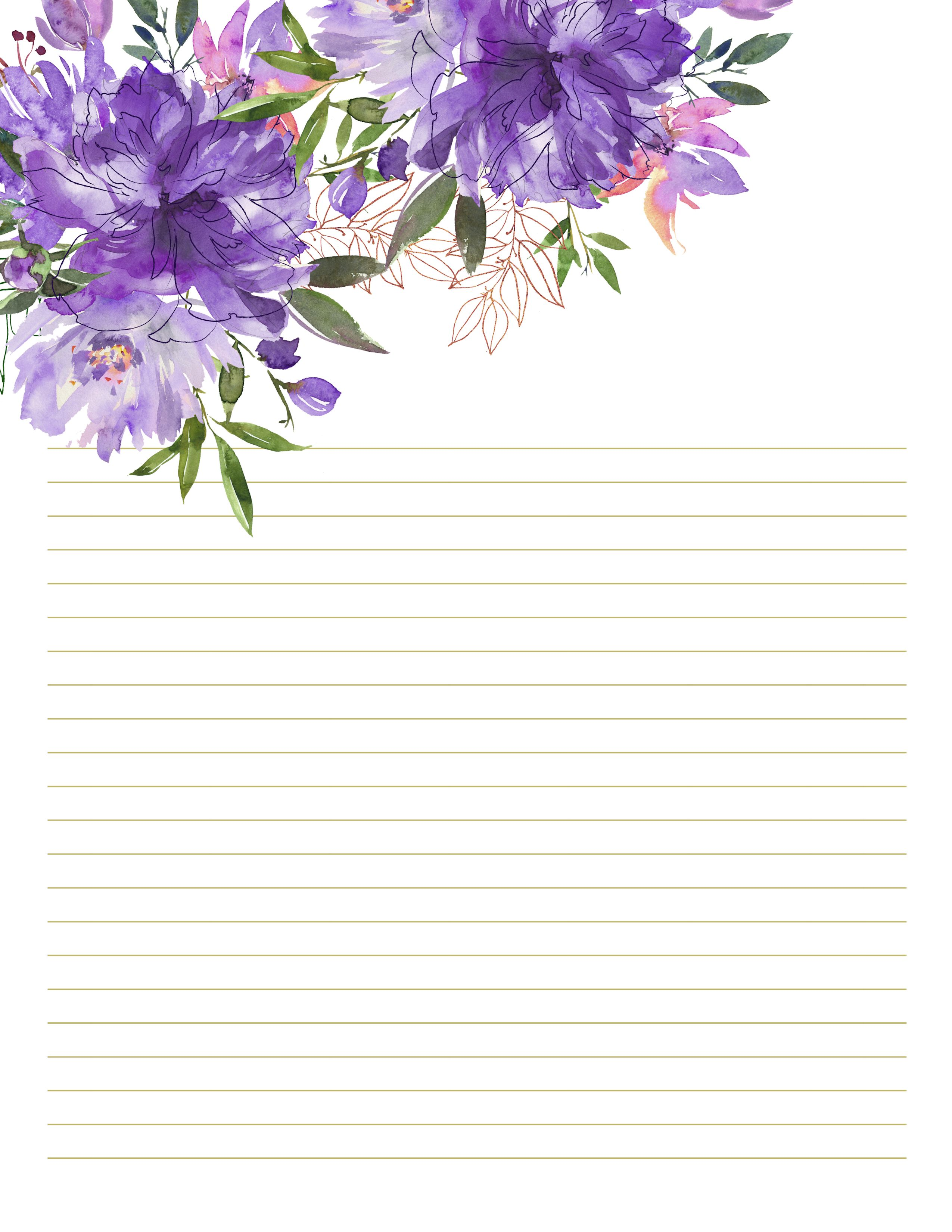 Personalized Floral Stationery Peony Flowers Stationary Pretty Writing Paper