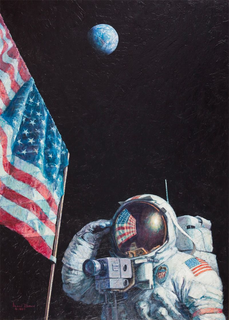 The Fourth Man To Walk On The Moon Also Paints Beautiful Space Art Space Art Space Pictures Space Painting Astronaut on moon with flag wallpaper