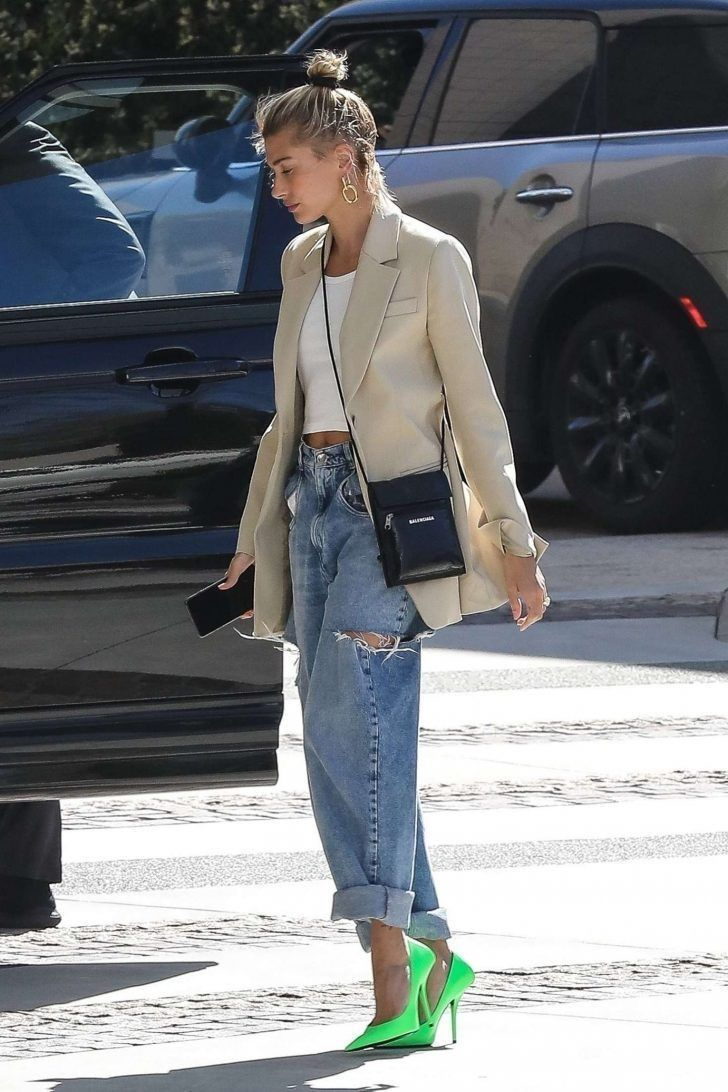 Hailey Bieber Just Styled A Blazer Blazer And Bucket Hat With Fluffy Blue Slippers In NYC