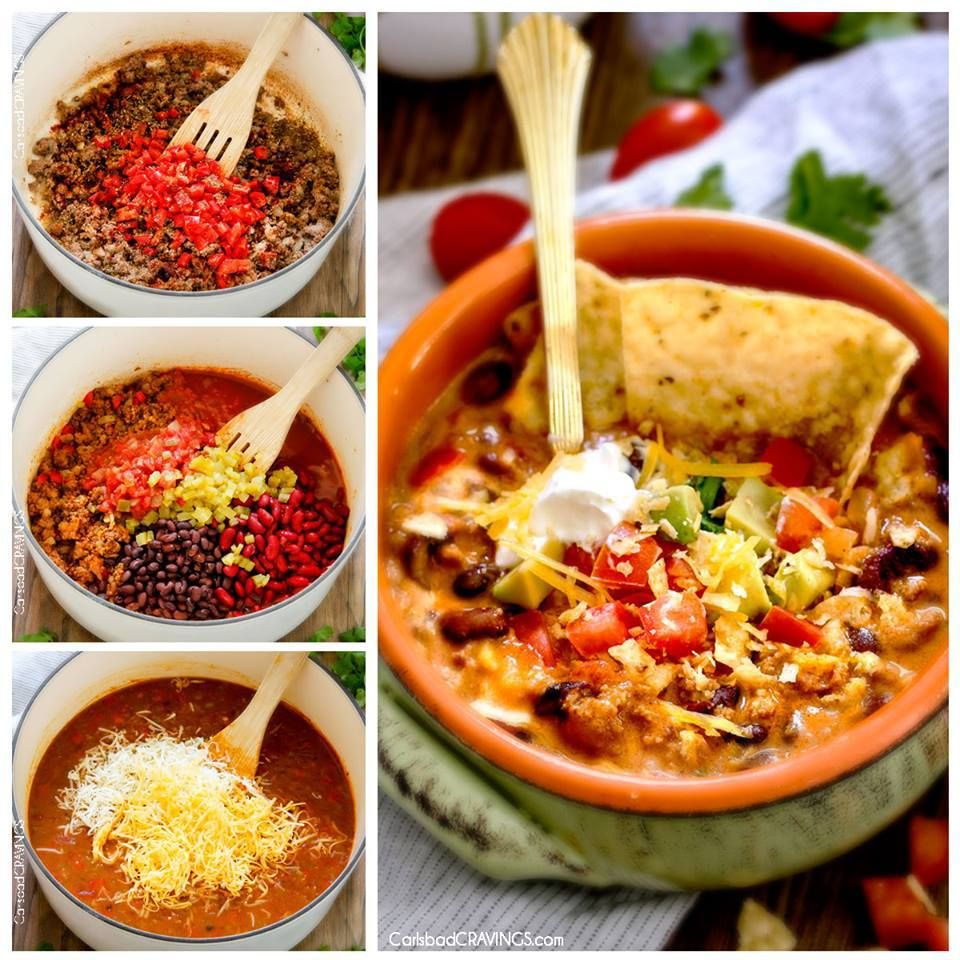 ️CHEESY TACO SOUP️ 30 minute ONE POT CHEESY TACO SOUP is the ultimate comforting soup packed with all your favorite taco flavors and is SO easy and great for crowds! You haven't had taco sou…