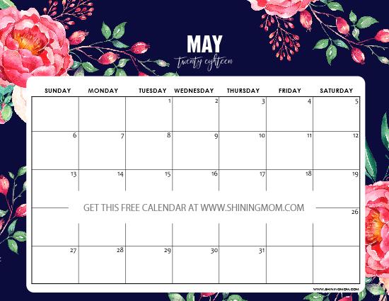 Brilliant Free Printable May 2018 Calendar 12 Designs Flowers Download Free Architecture Designs Scobabritishbridgeorg