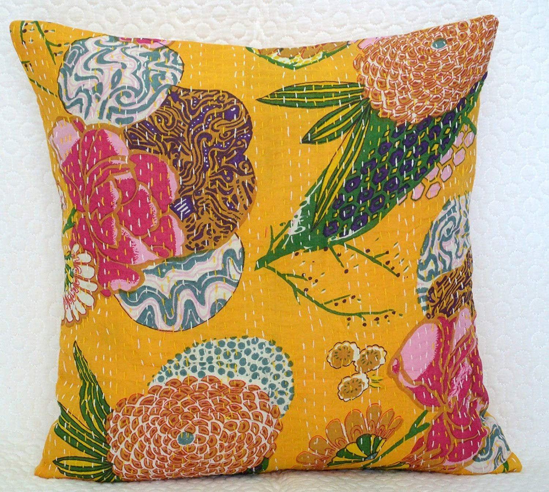 18/'/' Indian Boho Kantha Cushion Cover Cotton Decorative Throw Pillow Case Decor