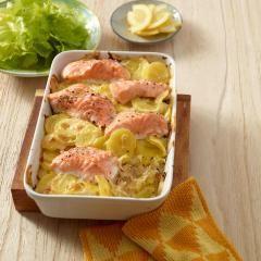Kartoffel-Lachs-Gratin mit Salat Rezept #summerdinnerseasy