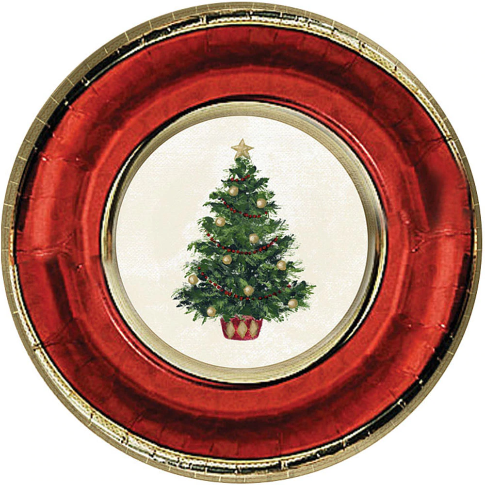Classic Christmas Tree Dinner Plates 8ct Party City Christmas Paper Plates