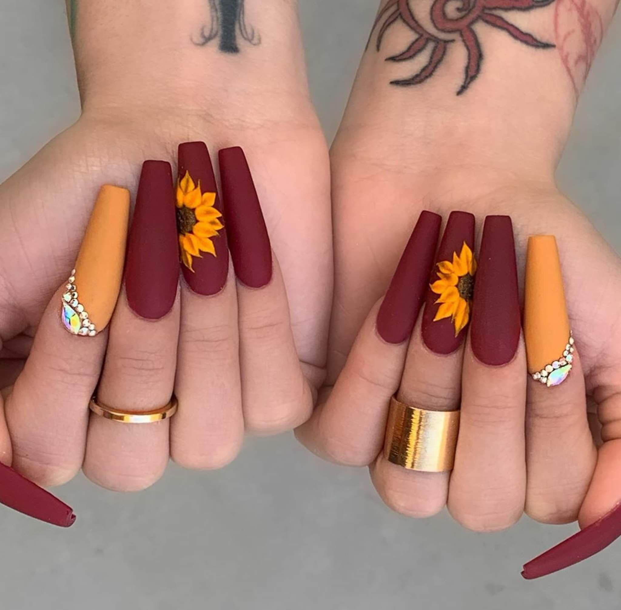 #fall #fallnails #cute #matte #mattenails #sunflower # ...