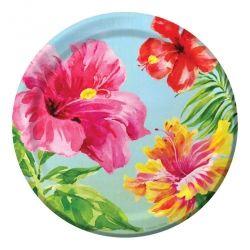 Hibiscus Floral Paper Dessert Plates