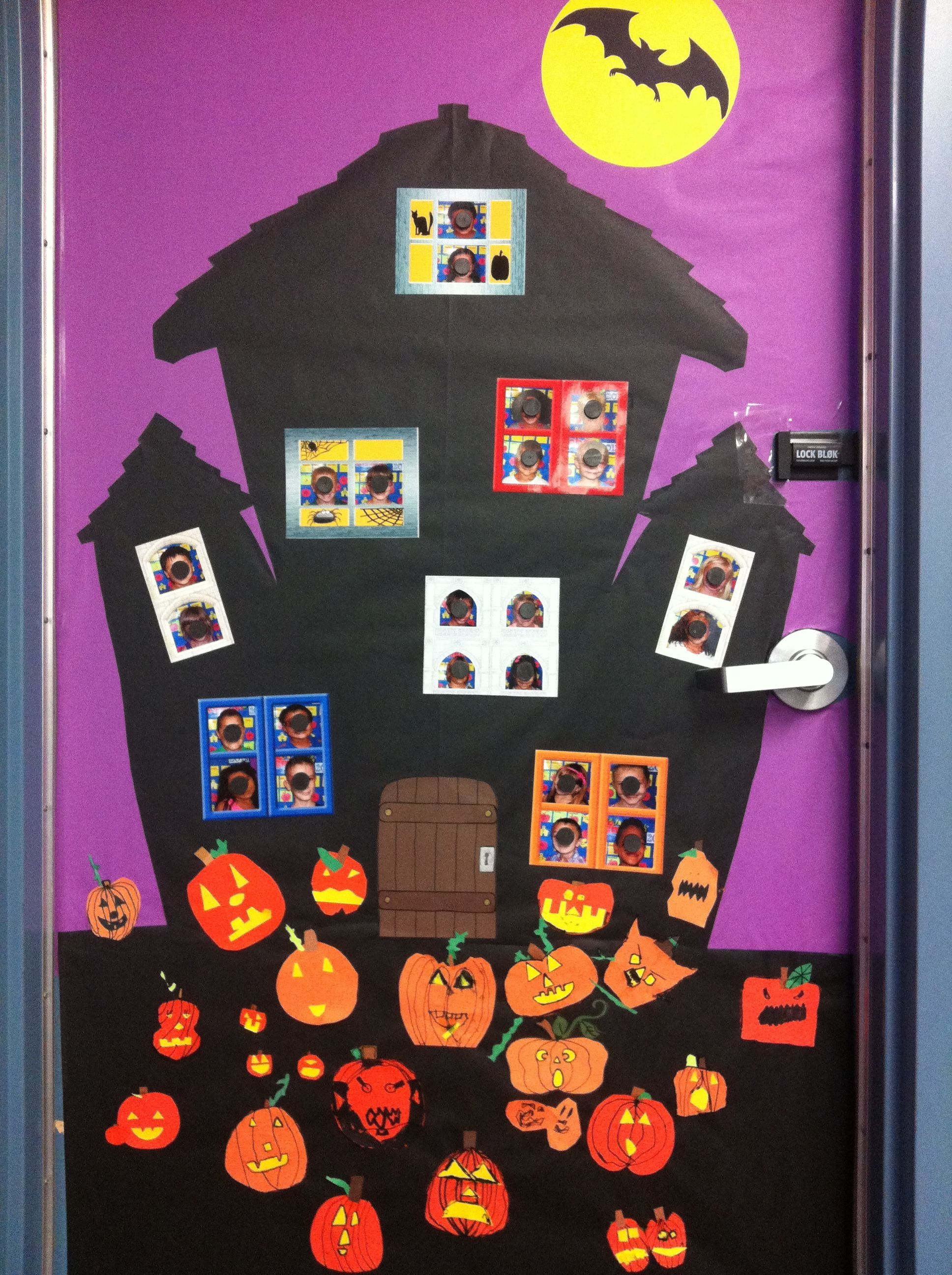 October 2013. I got the haunted house idea from Pinterest. Where else? :)  I found cute window clipart on PrintShop and added their pictures. Then, I had the kids make their own Jack-Os to place in the pumpkin patch. I love it! #pumpkinpatchbulletinboard October 2013. I got the haunted house idea from Pinterest. Where else? :)  I found cute window clipart on PrintShop and added their pictures. Then, I had the kids make their own Jack-Os to place in the pumpkin patch. I love it! #pumpkinpatchbulletinboard