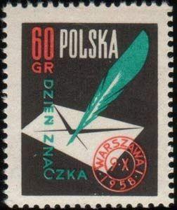 Znaczek: Letter, quill and postmark (Polska) (Stamp Day) Mi:PL 1068,Sn:PL 820,Pol:PL 923