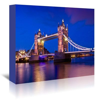 Americanflat 'London Tower Bridge at Blue Hour' by Melanie Viola Photographic Print on Wrapped Canvas Size: