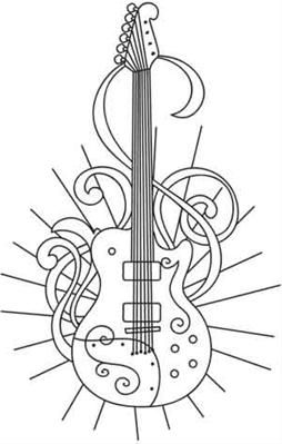 Electric guitar outline coloring black and white for Electric guitar coloring page