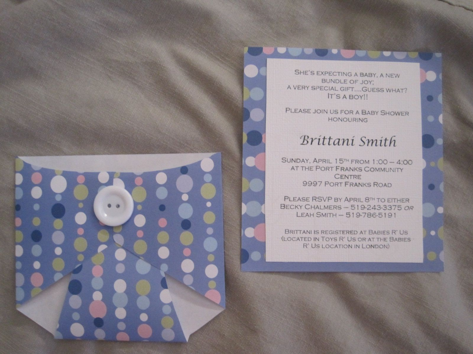 Adorable and easy baby shower invitations. Template available at ...